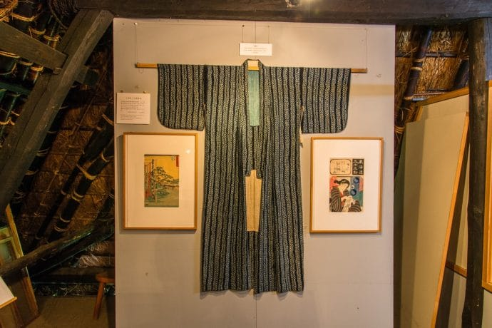 vieux kimono collectino little indigo museum kayabuki-no-sato - japon