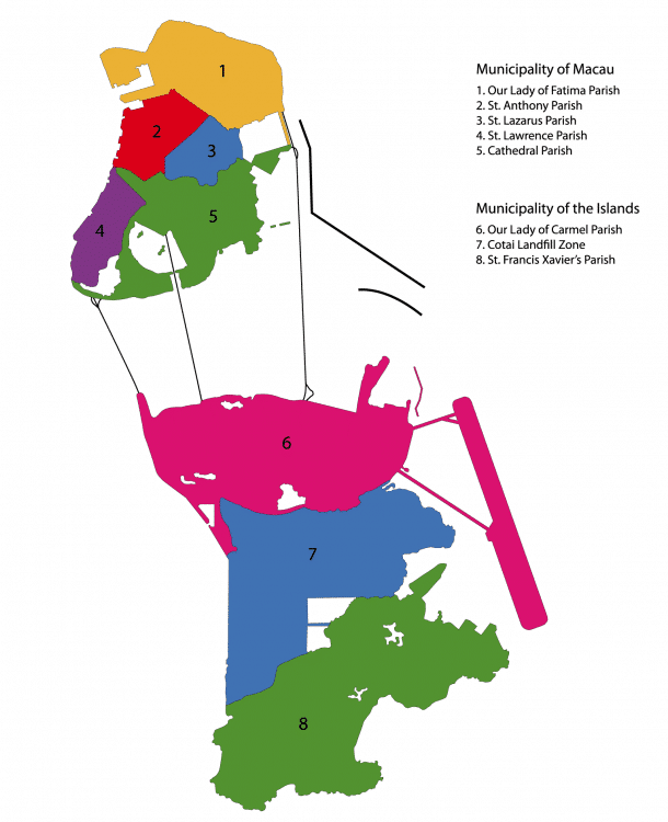 carte macao division des districts